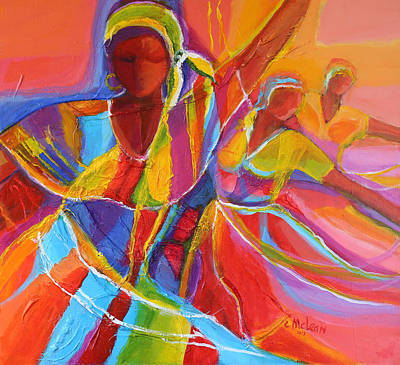 Indigenous Culture Painting - Belle Dancers by Cynthia McLean
