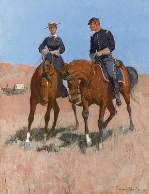 Remington Painting - Belle Mckeever And Lt Edgar Wheelock by Frederic Remington