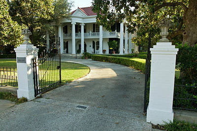 Belle Oaks Inn, Plantation Style Bed & Art Print by Larry Ditto