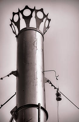 Photograph - Belle Of Louisville Smoke Stack And Lantern B/w by Greg Jackson