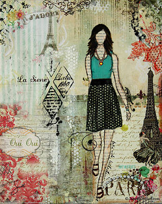 Eiffel Tower Mixed Media - Belle Ville Belle Dame French Inspired Mixed Media Abstract Artwork by Janelle Nichol