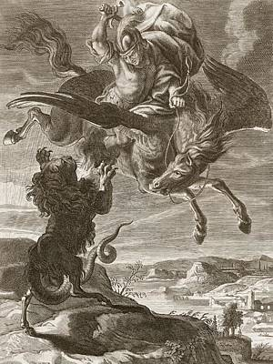 Pegasus Drawing - Bellerophon Fights The Chimaera, 1731 by Bernard Picart