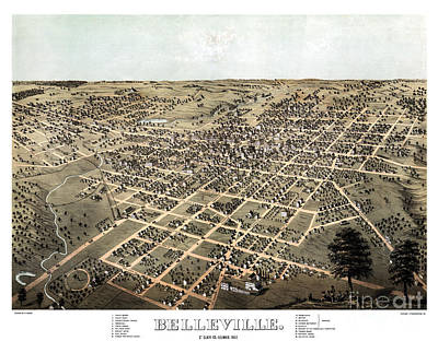 Vintage Map Painting - Belleville - Illinois - 1867 by Pablo Romero