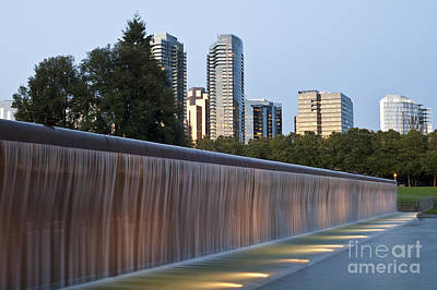 Photograph - Bellevue Skyline From City Park With Fountain And Waterfall At S by Jim Corwin