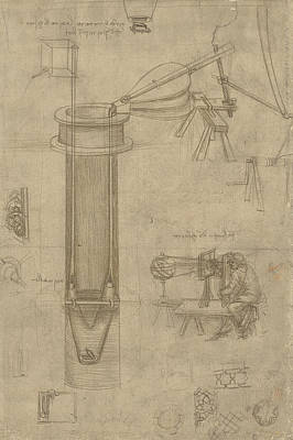 Bellows Perspectograph With Man Examining Inside From Atlantic Codex Art Print by Leonardo Da Vinci