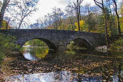 Bells Mill Road Bridge And The Wissahickon Creek In Autumn Art Print by Bill Cannon