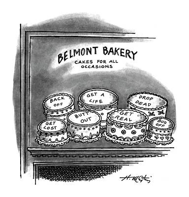 Bakery Drawing - Belmont Bakery Cakes For All Occasions by Henry Martin