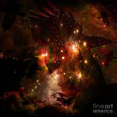 Pleiades Digital Art - Beloved Raven by Mynzah Osiris