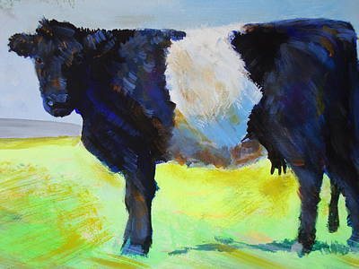 Drawing - Belted Galloway Cow by Mike Jory
