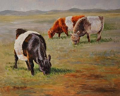 Belted Galloway Cows -tri-color Trio Art Print by Louise Charles-Saarikoski