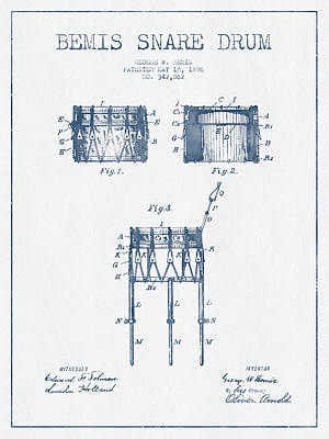 Folk Art Digital Art - Bemis Snare Drum Patent Drawing From 1886 - Blue Ink by Aged Pixel