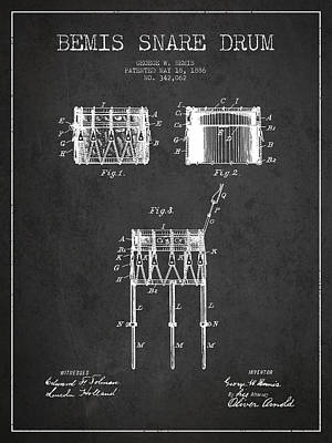 Skin Digital Art - Bemis Snare Drum Patent Drawing From 1886 - Dark by Aged Pixel