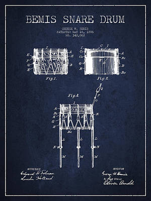 Bemis Snare Drum Patent Drawing From 1886 - Navy Blue Art Print by Aged Pixel