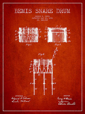 Drummer Digital Art - Bemis Snare Drum Patent Drawing From 1886 - Red by Aged Pixel