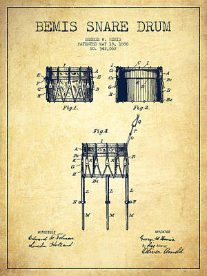 Drummer Digital Art - Bemis Snare Drum Patent Drawing From 1886 - Vintage by Aged Pixel