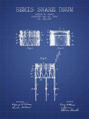 Drummer Drawing - Bemis Snare Drum Patent From 1886 - Blueprint by Aged Pixel