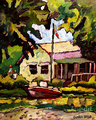 Fishing Shack Painting - Ben And Sam's Hideout by Charlie Spear