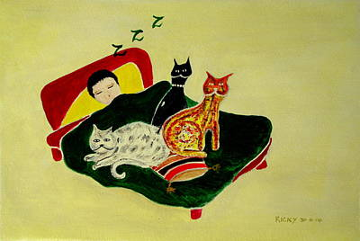 Painting - Ben And The Cats by Veronica Rickard