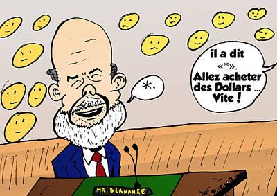 Fed Mixed Media - Ben Bernanke Portrait Comique by OptionsClick BlogArt