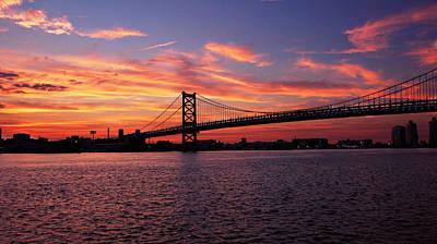 Philadelphia Photograph - Ben Franklin At Sunset by Carlos Rivera