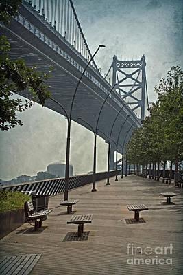 Ben Franklin Bridge And Pier Art Print by Tom Gari Gallery-Three-Photography