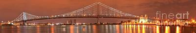 Photograph - Ben Franklin Bridge Giant Panorama At Dusk by Adam Jewell