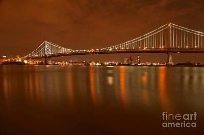 Photograph - Ben Franklin Bridge Portrait by Adam Jewell