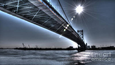 Ben Franklin Bridge Under The Sun Art Print by Mark Ayzenberg