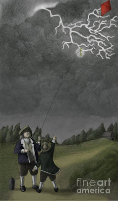 Ben Franklin Kite And Key Experiment Art Print by Spencer Sutton