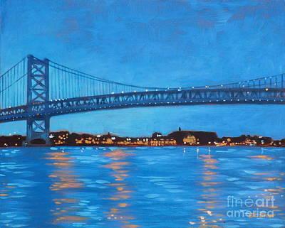 Ben Franklin Bridge Painting - Ben Franklin Night by Elisabeth Olver