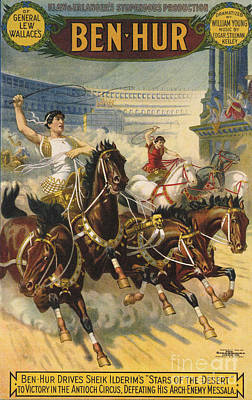 Drawing - Ben-hur  1903 1900s Usa Ben Hur Horses by The Advertising Archives