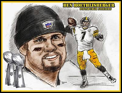 Drawing - Ben Roethlisberger by Chris  DelVecchio