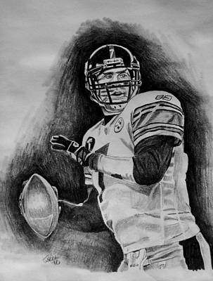 Steelers Drawing - Ben Roethlisberger by Jeremy Moore