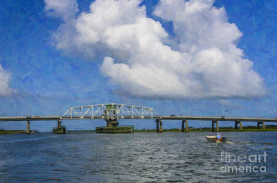 Digital Art - Ben Sawyer Swing Bridge Over The Icw by Dale Powell