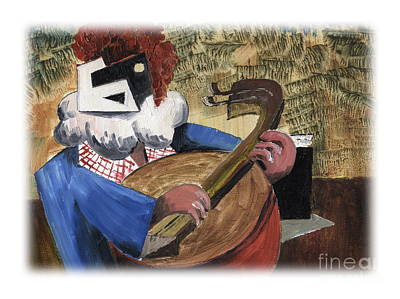 Painting - Ben The Banjo Man by Val Byrne