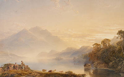 Mist Painting - Ben Venue And The Trossachs Seen From Loch Achray by Anthony Vandyke Copley Fielding