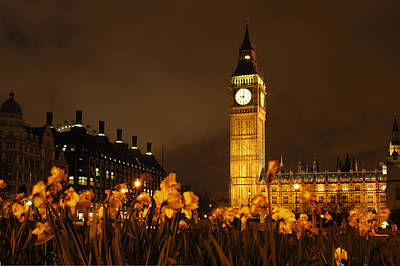 Big Ben Wall Art - Photograph - Ben With Flowers by Mike McGlothlen