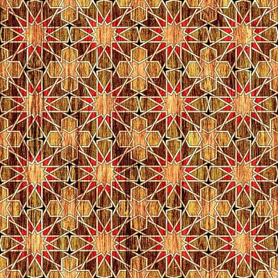 Religious Art Digital Art - Ben Yusuf Madrasa Geometric Pattern Wood by Hakon Soreide