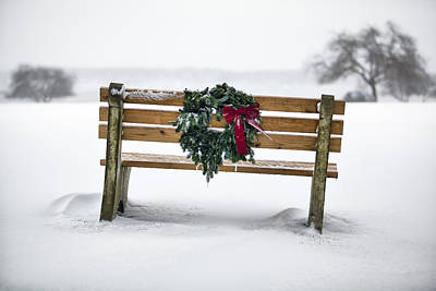Christmas Holiday Scenery Photograph - Bench And Wreath by Eric Gendron