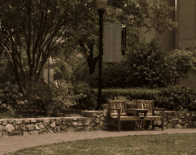 Photograph - Bench At University Baptist Church by Paulette B Wright