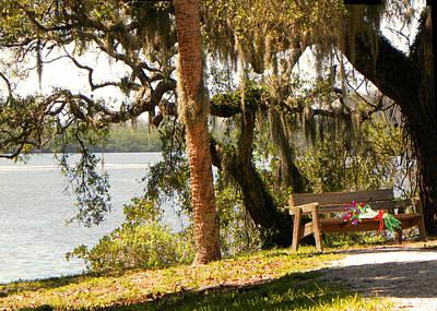 Bench By The Lake Print by Rosalie Scanlon
