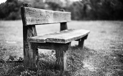 Photograph - Bench In Black And White by Gary Gillette