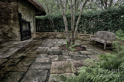 Photograph - Bench In Lush Garden by Danny Hooks