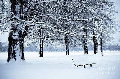 Bench In Snow Art Print