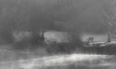 Photograph - Bench In The Mist by Don Schwartz