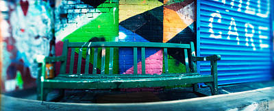 Mural Photograph - Bench Outside A Building, Williamsburg by Panoramic Images