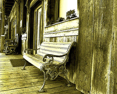Photograph - Bench Outside The Saloon by Anne Mott