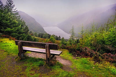 Best Irish Photograph - Bench Over The Upper Lake. Glendalough. Ireland by Jenny Rainbow
