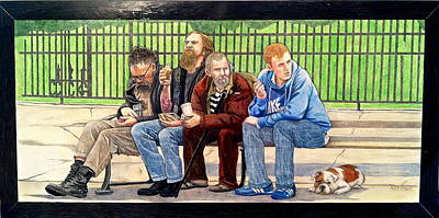 Bench People Series-the Guys  Art Print by Betsy Frahm