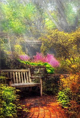 Suburbanscenes Photograph - Bench - Tranquility II by Mike Savad